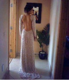 Diyouth.com New Sleeve Backless Prom Dress Long Sequin Custom Formal Dress, open back evening dress, long party dress, beaded prom dress, beading cocktail dress