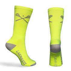 Lacrosse Socks Crossed LAX Sticks Crew Socks - Neon and Gray (One Size Fits All) Zulu LAX. $8.99