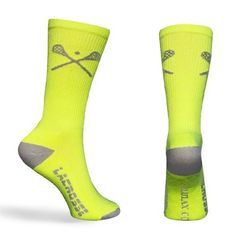 Lacrosse Socks Crossed LAX Sticks Crew Socks - Neon and Gray (One Size Fits All) Zulu LAX. $8.99