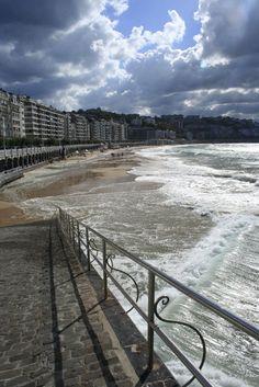 Beach of La Concha in the city of San Sebastian, Spain