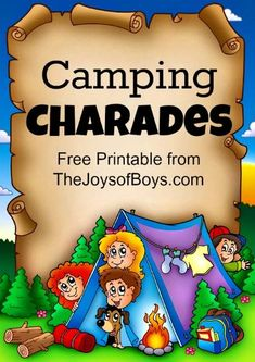 Games: Printable Camping Charades for all ages Use this fun game and easy printable on your family camping trip this summer to play camping charades!Use this fun game and easy printable on your family camping trip this summer to play camping charades! Camping Games For Adults, Camping Activities For Kids, Camping Crafts, Camping With Kids, Camping Meals, Go Camping, Outdoor Camping, Camping Hacks, Camping Essentials