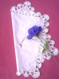 >>>Nr.9a The handkerchief with crocheted lace made of white batiste. Price 15 $ + shipping