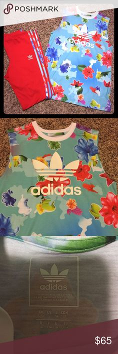 Floral Adidas 2pc outfit Only worn once! Floral Adidas two piece outfit. The top is a US size large and the pants are a US size XL but would fit a large or even a medium. adidas Other