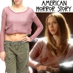 RARE American Horror Story Violet Ecote Pink Striped Cropped Sweater | eBay