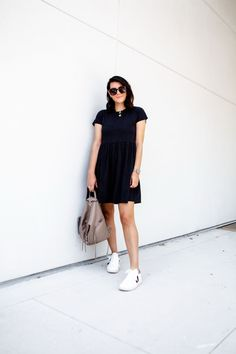 Cotton dress with sneakers How To Wear Sneakers, Dress With Sneakers, Fashion Idol, Amazon Purchases, Black Cardigan, Back To Black, Simple Dresses, Clothing Items, Cotton Dresses