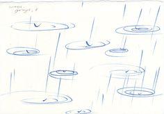 three original ink drawings about rain