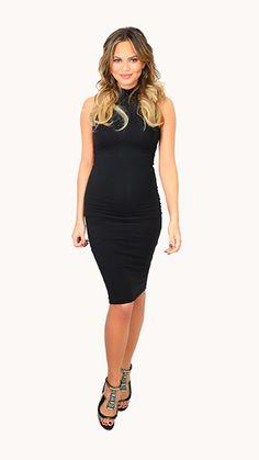 Chrissy Teigen: Look of the Day Dress: Babaton by Aritzia, Shoes: Gianvito Rossi, Earrings: Fallon
