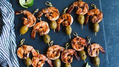 Grilled Shrimp Skewers -   These Spicy Shrimp and Olive grilled skewers are quick and easy to make. They'll fly off the platter! Pair them with the Southwestern Chopped Salad for a summer time meal!