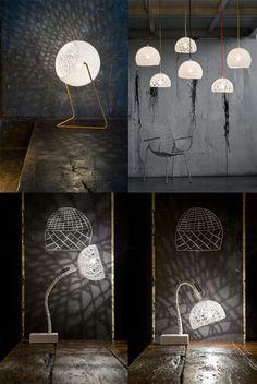 LAMPADA A SOSPENSIONE IN RESINA E 100% LANA TRAMA 1 COLLEZIONE TRAME BY IN-ES.ARTDESIGN