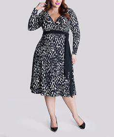 Another great find on #zulily! Black & White Neve Surplice Dress - Plus by IGIGI #zulilyfinds