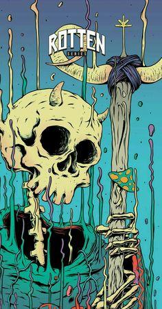 Graffiti Wallpaper, Trippy Wallpaper, Cartoon Wallpaper, Trippy Drawings, Art Drawings, Psychadelic Art, Urbane Kunst, Skeleton Art, Scary Art