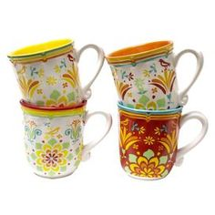 """Set you table in eye-catching elegance with this beautiful dining essential.   Product: 4 Piece mug setConstruction Material: EarthenwareColor: MultiFeatures:  Microwave safeFloral pattern Dimensions: 6"""" H x 4.25"""" Diameter eachCleaning and Care: Dishwasher safe"""