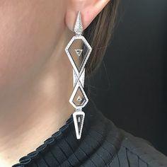 Nikos Koulis Jewels. Universe Line geometry keeps evolving, brand new long white diamond patent translucent enamel setting. #nikoskoulisjewels