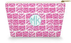 Personalized Make Up Bag - Pink Tribal - Caroline And Company