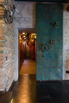 Like These Industrial DecorDesigns? Visit Us For More Vintage Loft Designs Industrial Door, Industrial Bedroom, Industrial Interiors, Vintage Industrial, Industrial Living, Kitchen Industrial, Industrial Wallpaper, Industrial Bookshelf, Industrial Style