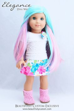 "Sweet Macaron Hair Pastel Rainbow Pink Turquoise Blue Purple Elegance American Girl Doll Wig fits 18"" American Girl Dolls size 10-11"" wig cap: Beautifully Custom Exclusive"