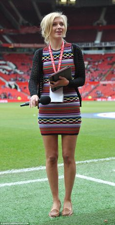 Rachel Riley was in attendance at Sunday's charity match at Old Trafford, which pitted a team of Manchester United Legends against Bayern Munich All Stars.