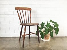 Vintage Rustic Wood Chair / Farmhouse Country by 6thAndDetroit