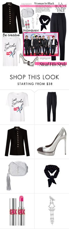 """BTS+YSL=Perfection....."" by purplecherryblossom ❤ liked on Polyvore featuring Yves Saint Laurent, Samsung and Lipsy"