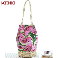 Cheap woven handbags, Buy Quality beach bag directly from China women bucket bag Suppliers: KEENICI Sackpack Straw Summer Beach Bag Fresh Fruit Watermelon Printing Tote Women Bucket Bag Canvas Shoulder Bag Woven HandBags Canvas Shoulder Bag, Printed Bags, Fresh Fruit, 1 Piece, Summer Beach, Jeans, Drawstring Backpack, Bucket Bag, Handbags