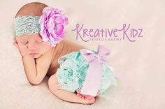Newborn Lace bloomer { Lauren } Lavender, aqua lace Diaper Cover Bloomer Set, flower Headband newborn baby girl photography baby shower