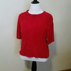 Red chenille sweater Soft and sweet red chenille short sleeve sweater. c. b. collections  Sweaters Crew & Scoop Necks