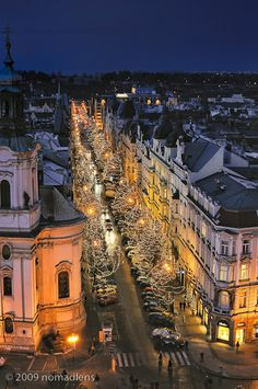 Christmas in Prague - a view of Christmas lights from a tower of the Town Hall in the Old Town Square.