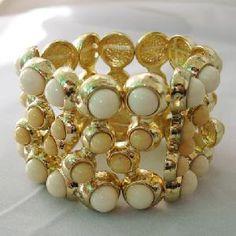 18k gold stretch beads bangle bracelet celebrity women fashion golden costume jewelry factory