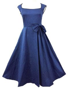 Vintage Square Neck Cap Sleeve Bowknot Embellished Women's Dress