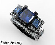 Black Gold Blue Diamond Bridal Ring Set