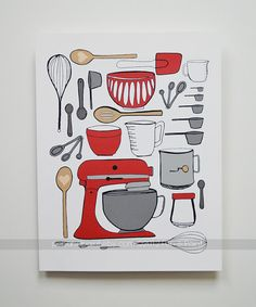 CHOOSE your color, Kitchen Art, Kitchen Decor, Baking, Mixer, I love to bake, utensils, 8 x 10 Art Print...but really big