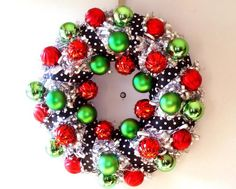 Shatterproof ornaments make this a sparkling and fun holiday wreath that can weather the elements and will look good for many years to come.