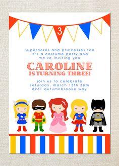 Custom Printable Kids Costume Party Birthday Invitation 1000 via
