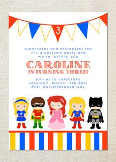 Costume party childrens birthday party invitations by jill means at superhero and princess dress up birthday party invitations filmwisefo