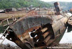 ARMY Submarine graveyard in Nezametnaya Cove, Kola Peninsula, Russia