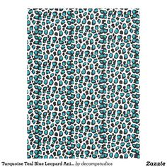 Turquoise Teal Blue Leopard Animal Print Fleece Blanket for teen girl bedroom bedding decor #decampstudios