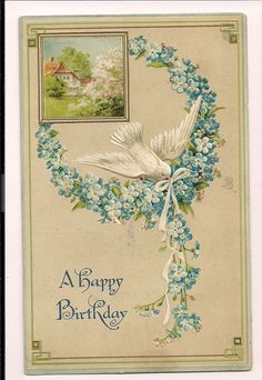 A Happy Birthday Forget Me Nots White Dove  Floral Flowers Postcard #Birthday