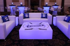 Hockey Themed Lounge Hockey Themed Lounge with Custom Pillows, Logo Decals & LED Hightops at Florentine Gardens Florentine Gardens, Lounge Lighting, Lounge Party, Sports Party, Lounges, Bar Mitzvah, Custom Pillows, Event Decor, Hockey