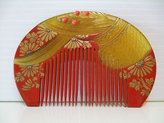 RARE ANTIQUE JAPANESE CORAL HAIR COMB
