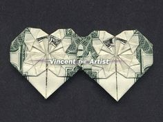 Dollar Money Origami 2 HEART Double Hearts Made from Real Dollar Bill