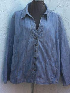 Dressbarn plus size 22/24 light blue button front long sleeve jean jacket shirt #Dressbarn #ShirtJacket
