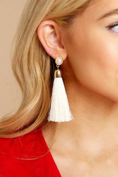 Freshwater Pearl White Gold Long Earrings Bridesmaid Statement Earrings Gold-Filled Earwire Soutache Tassel Earrings with Mother-of-Pearl