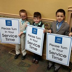 Ryan, Kirk, and Levi reminding the congregation in Wentzville, Missouri, USA to turn in their time.