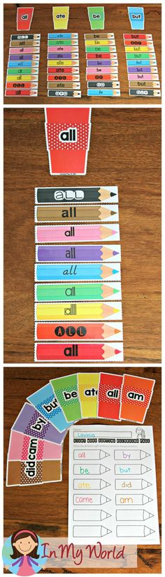 FREE Back to School Literacy Centers for Kindergarten sight word sorting activity