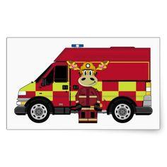 Cute Cartoon Giraffe Fireman Stickers