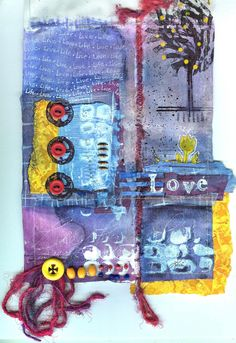 ...love the route this took me on...to collage artist Laura Lein-Svenener (can't read my own writing!?)...great blog page lonecrow......prayer flag