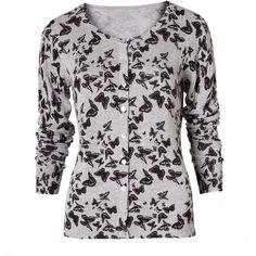 Butterfly Print Cardigan by Poem ($55) ❤ liked on Polyvore featuring tops, cardigans, sweaters, moth cardigan, butterfly print top, butterfly top and cardigan top