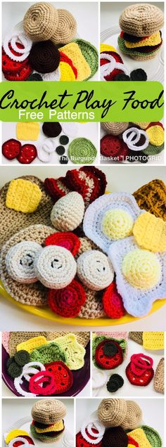 Stash busting crochet patterns Scrap yarn crochet Crochet for babies and toddler Free crochet toy patterns Crochet Play Food - The Burgundy Basket Scrap Yarn Crochet, Crochet Baby Toys, Crochet Toddler, Crochet Amigurumi Free Patterns, Crochet For Kids, Crochet Dolls, Free Crochet, Crochet Animals, Crochet Fruit