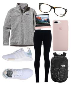 A fashion look from September 2017 by featuring Patagonia, NIKE, adidas Originals, The North Face and Ray-Ban Legging Outfits, Outfit Jeans, Coat Outfit, Sweatpants Outfit, Lazy Outfits, Athleisure Outfits, Fashion Outfits, Skater Outfits, Lazy Day Outfits