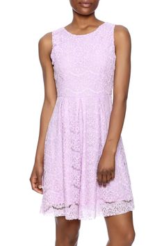 1d9506cec1c78 Lilac lace dress fit and flare dress with a round neckline exposed back  zipper closure and. Shoptiques